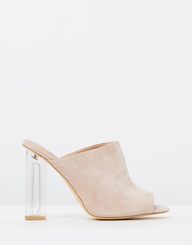 clear heel dusty pink mule shoe trend