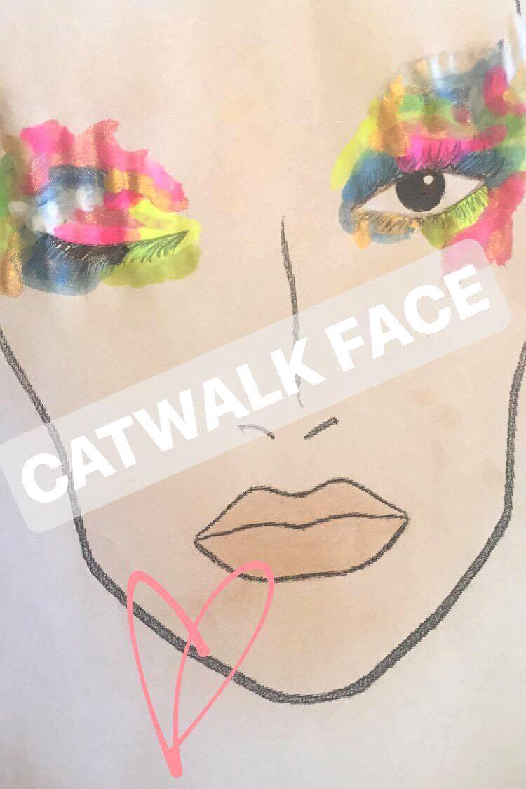 abstract catwalk makeup face chart beauty school
