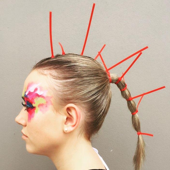 catwalk makeup beauty school cable tie mohawk