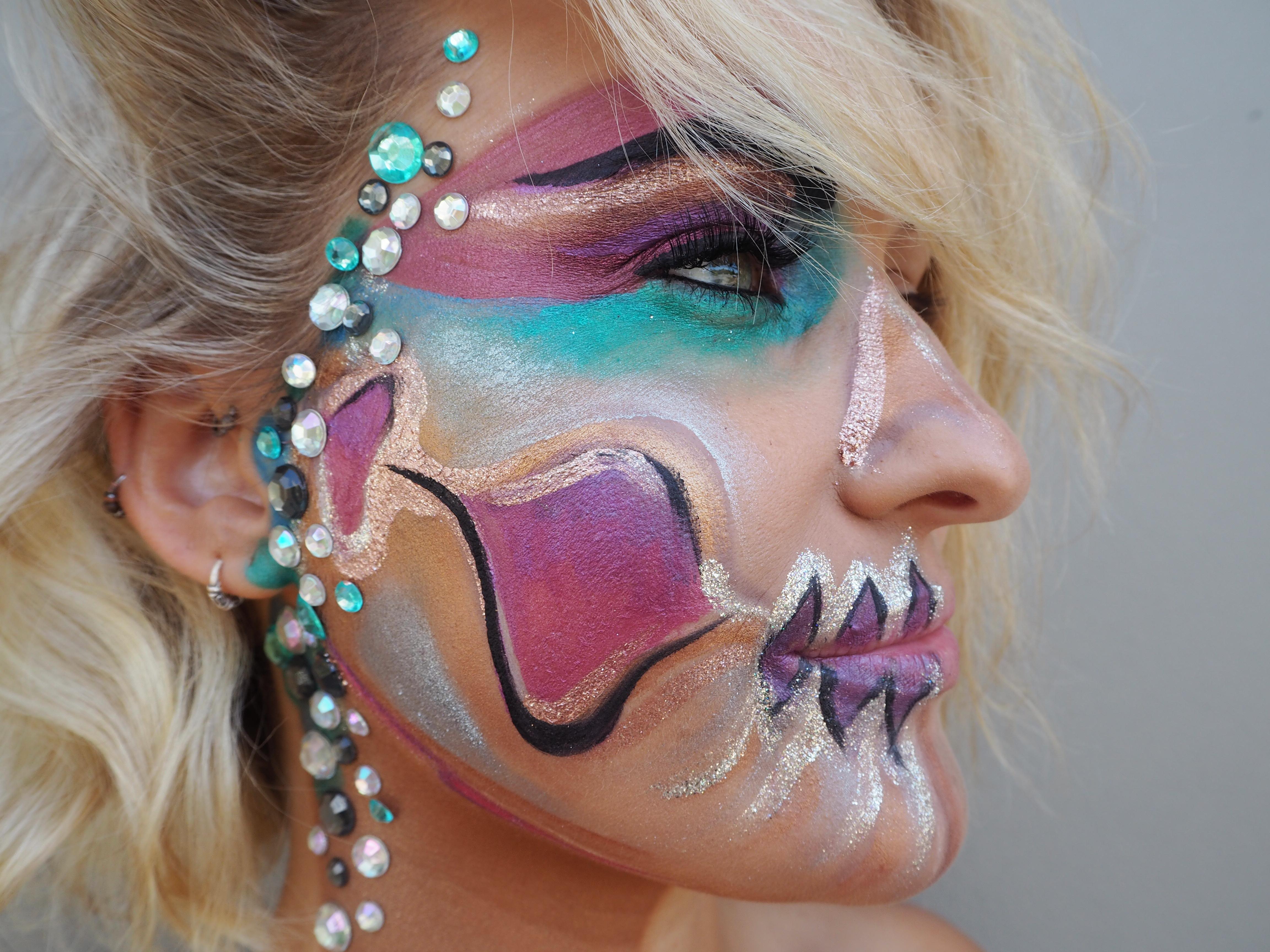 fantasy makeup pretty pastel skull bling samantha clark mua