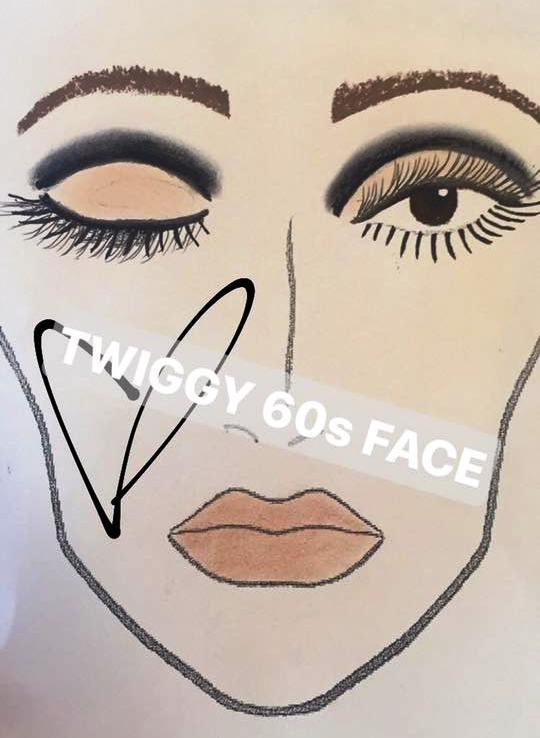 twiggy 60s makeup face chart beauty school