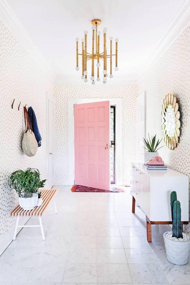 pink statement front door interior design trends