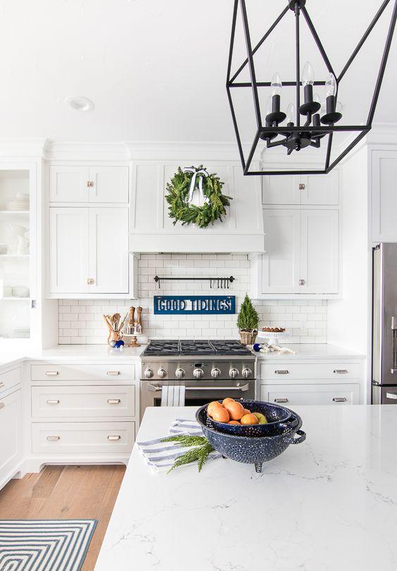 navy blue white silver christmas holiday decoration inspiration interiors blog kitchen