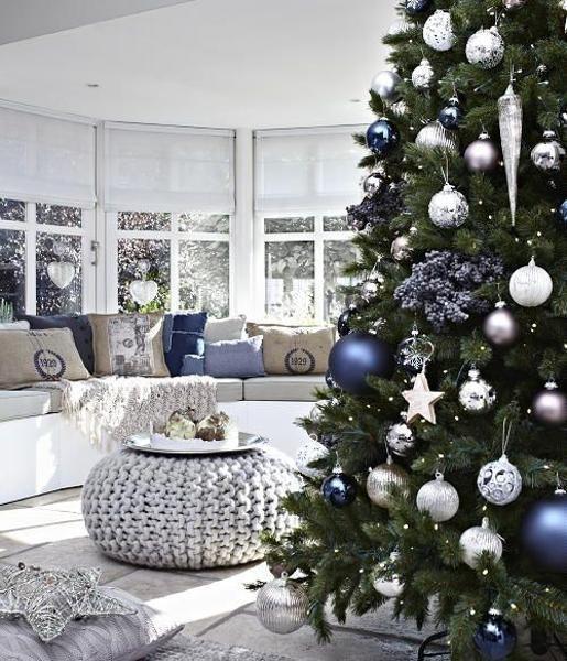 navy blue white silver christmas holiday decoration inspiration interiors blog tree