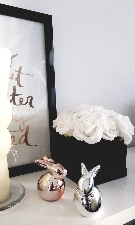 easter decor subtle home interior design blog samantha waters bunny vignette