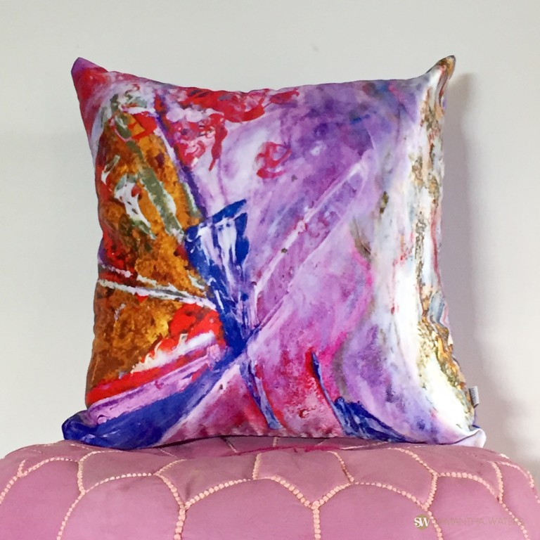 samantha clark waters hey stella art cushion cover pink
