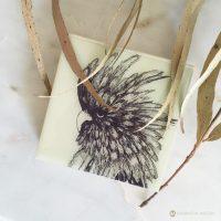 samantha clark waters hey stella block print cockatoo australian art