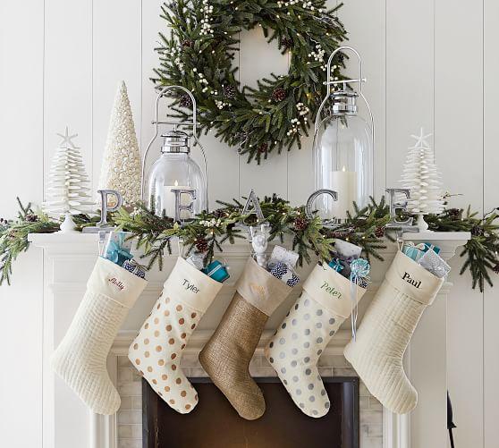 perfect christmas holiday santa stockings decor white