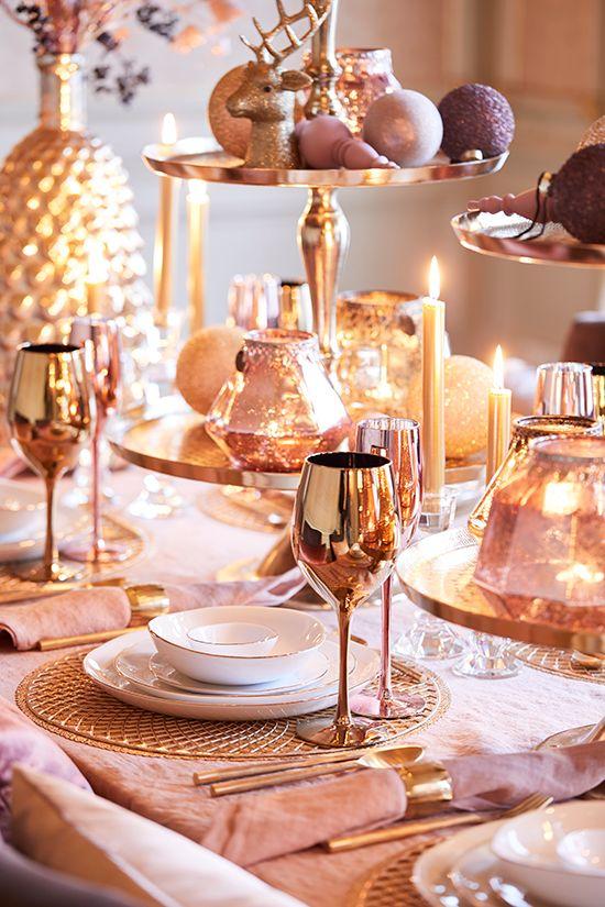 rose gold christmas dinner decoration inspiration interiors blog