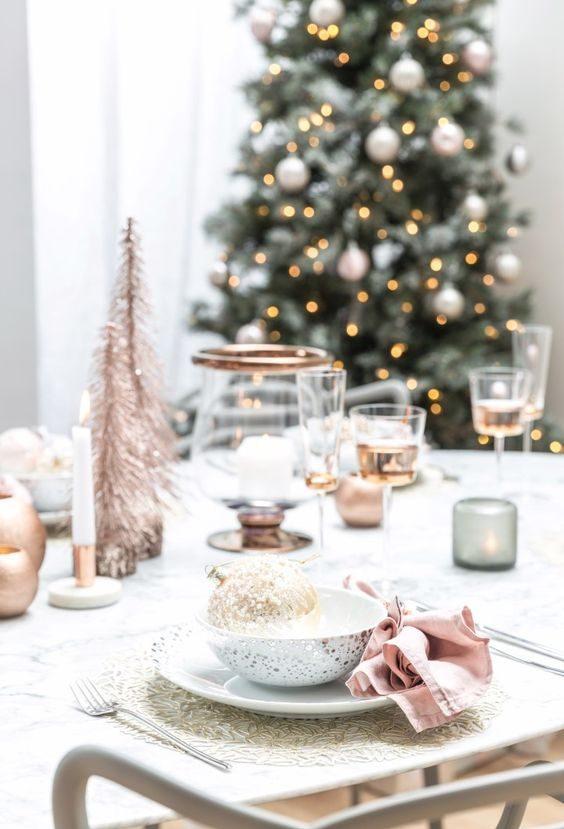 rose gold christmas table decoration inspiration interiors blog