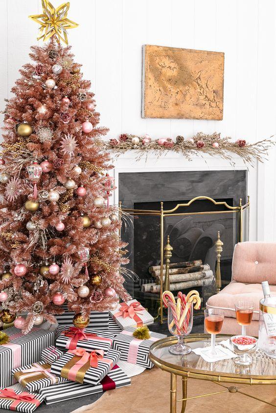 rose gold christmas tree decoration inspiration interiors blog