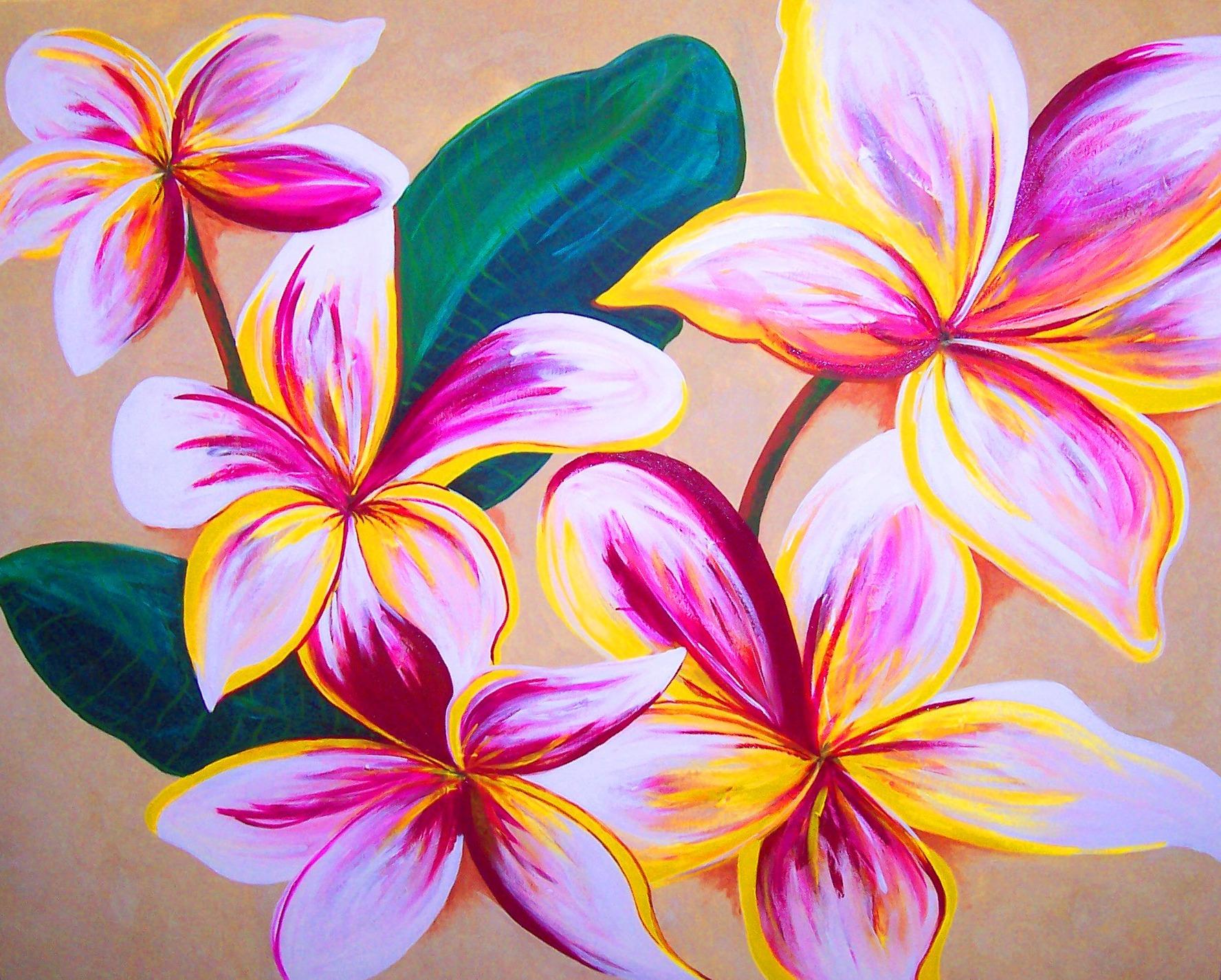 frangipanis artwork gold coast art artist samantha waters flowers