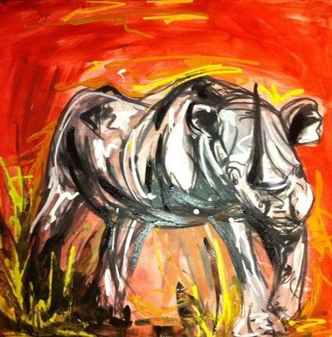 rhino original art gold coast artist abstract bright colourful