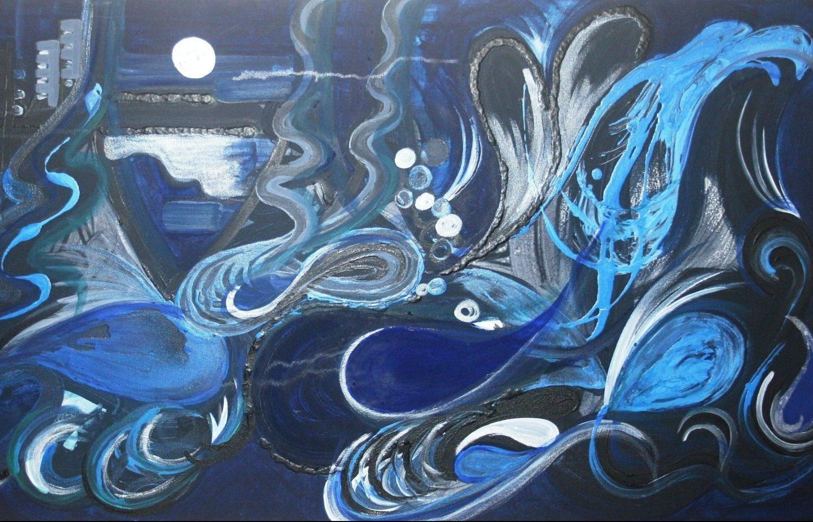 samantha waters dark ocean art coastal gold coast abstract original scaled