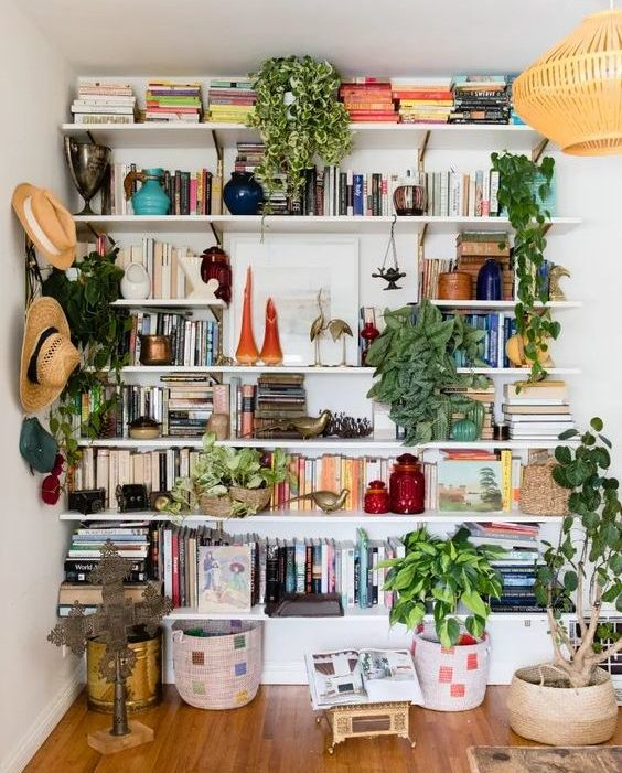 book shelf style interiors blog boho plant packed